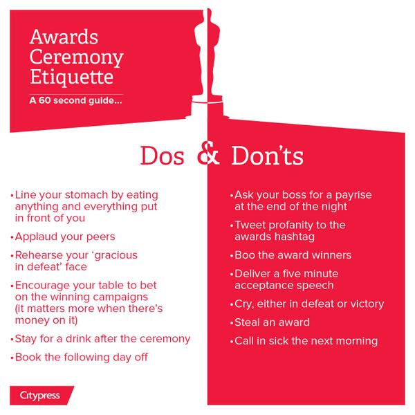 Ready for tonight? Snogging, stealing and crying; the dos and don'ts of award ceremonies #ProlificNorthAwards http://t.co/fTtRVezfQH