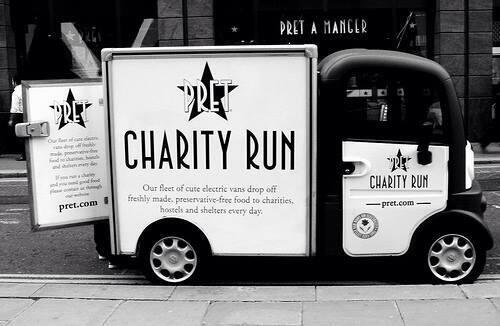 Our vans drop off Pret food to homeless charities daily. That's 2.5 million sandwiches a year saved from landfill! http://t.co/xgceKrSxp1