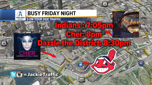 Jackie Zabielski (@JackieTraffic): It's a big night in #CLE. Leave early if you're headed downtown! http://t.co/GfGyW7IbMF
