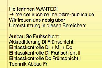 Wir suchen noch ein paar liebe Menschen, die als HelferInnen einspringen können! Dafür gibt's ein Freiticket. #rp14 http://t.co/ZdUyZ38uOM