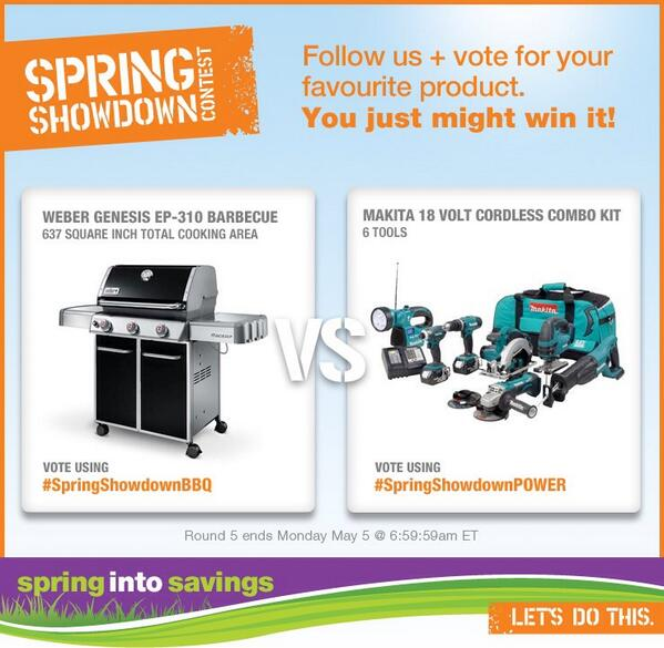 It's on – BBQ vs. 6pc Power Tool Kit! Follow + vote #SpringShowdownBBQ or #SpringShowdownPOWER http://t.co/eaNrxCpiXS http://t.co/C6woBN5pQv