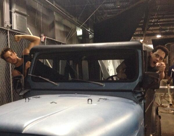 Here ya go @kbarklage2 ! Wish granted. Me and @DSprayberry in Stile's jeep on set of @MTVteenwolf http://t.co/ipe62HTNq2