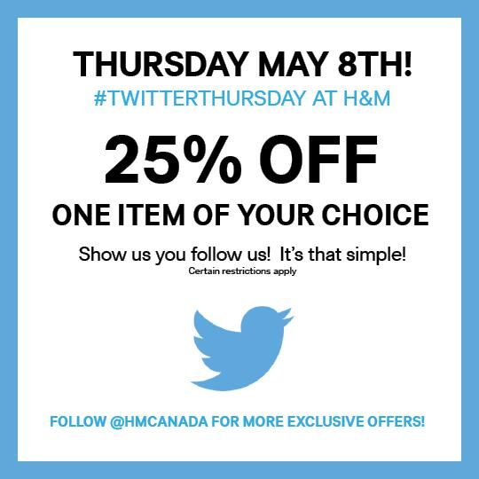 This Thursday May 8th! We love our followers so we're giving you 25% off an item of your choice! #TwitterThursday http://t.co/GFUT1kQavd