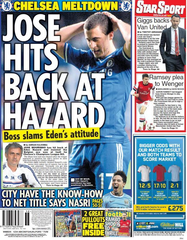 BmqL7VSIIAAA4KI Saturday Papers focus on Jose Mourinhos public spat with Eden Hazard at Chelsea