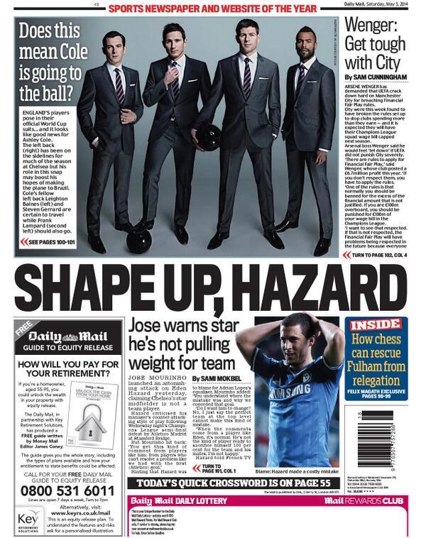 BmqL9UlIAAAsVHy Saturday Papers focus on Jose Mourinhos public spat with Eden Hazard at Chelsea