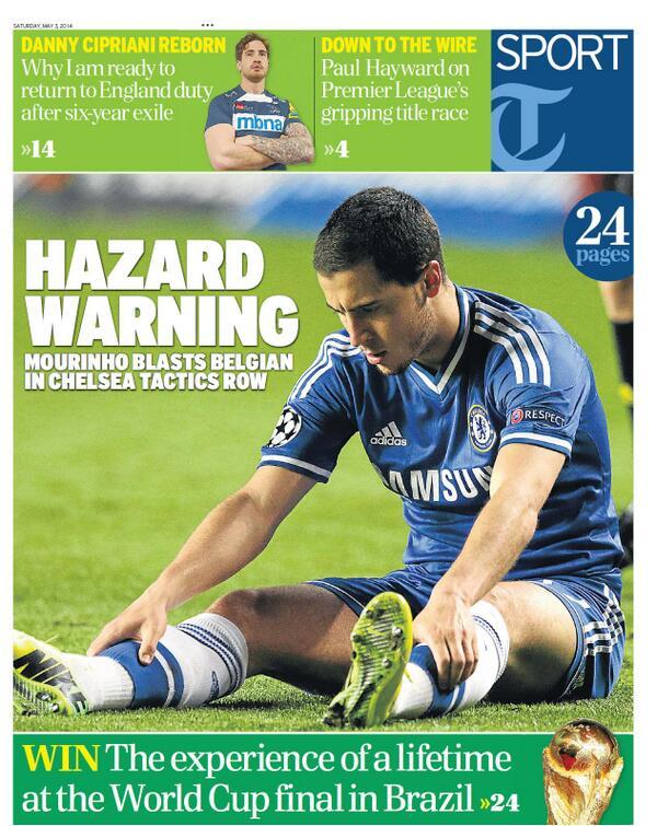 BmqMEC9IIAAFVxn Saturday Papers focus on Jose Mourinhos public spat with Eden Hazard at Chelsea