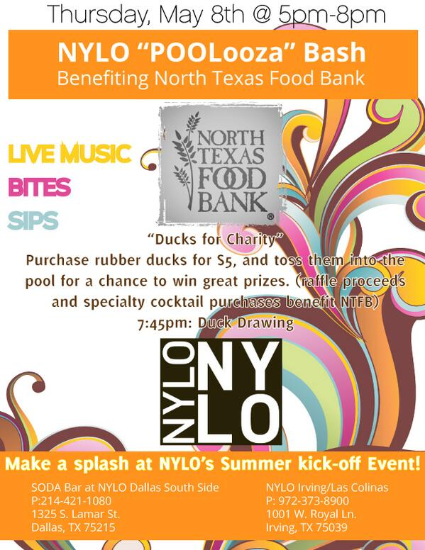 QUACK QUACK. Don't miss this event at the @NYLOLasColinas & @NYLODallasSouth 5/8, benefitting the @ntfb! http://t.co/Yy37wS4B46