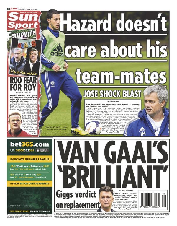 BmqPmroIcAAtS6p Saturday Papers focus on Jose Mourinhos public spat with Eden Hazard at Chelsea
