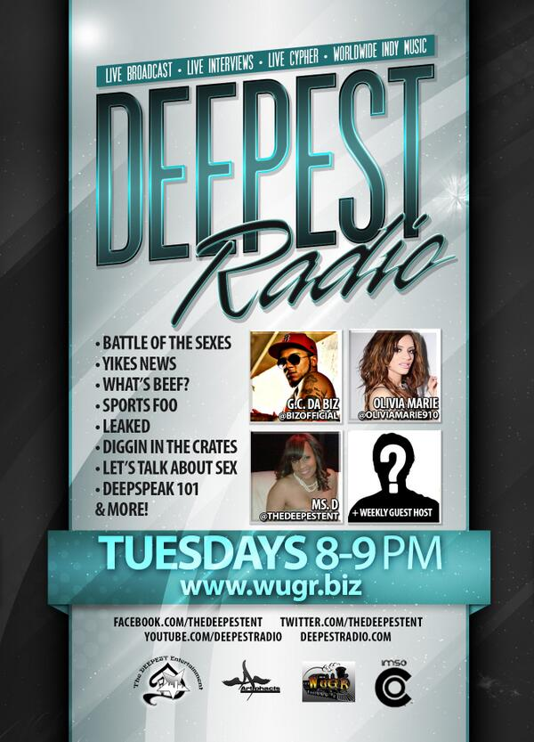 Deepest Radio  Tuesday's 8 - 9 pm EST.  Send music to deepestradio@gmail.com for spins (mp3 only). #WePlayUnderground http://t.co/2KbB7ZpKzo