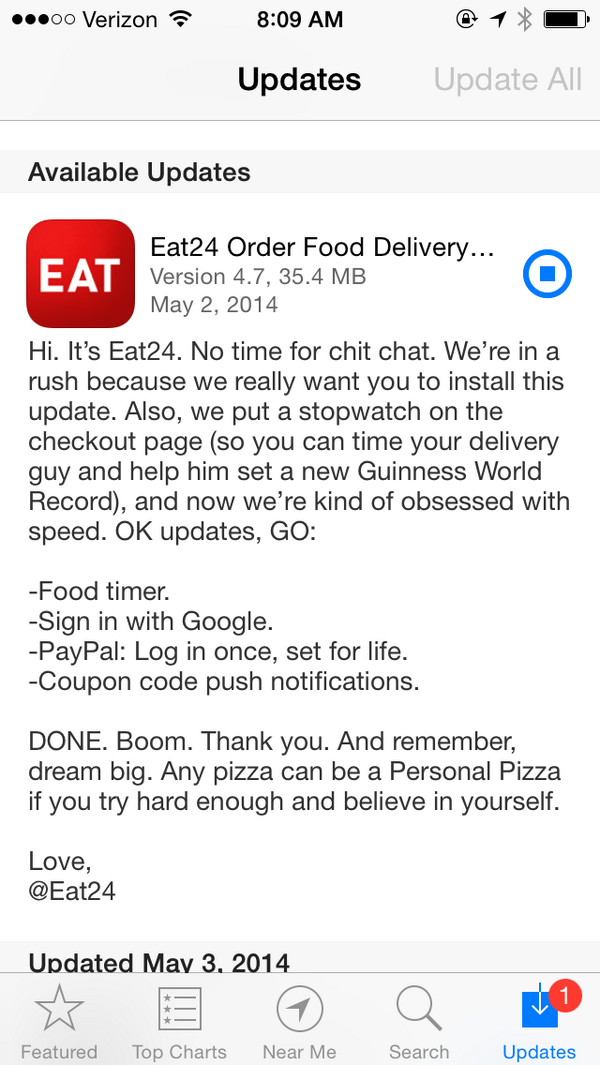 """Any pizza can be a Personal Pizza if you try hard enough and believe in yourself."" @eat24 http://t.co/e6fnlWOaVy"