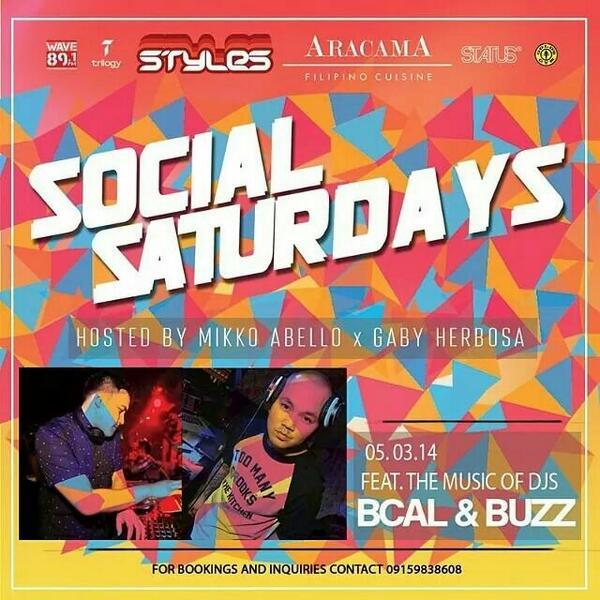 MNL! Only place to be tonight is @Aracama_Manila #SocialSaturdays brought to you by @STYLESENT Feat. @djBuzzWave891 http://t.co/pKbZJ6dO1Z