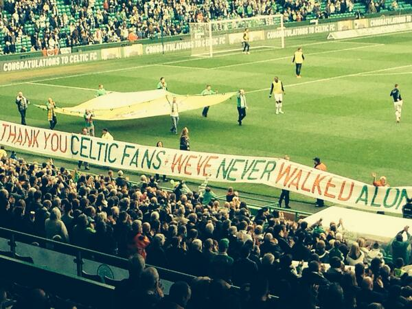 Lovely tribute to Hillsborough families here @celticfc at half-time. Home fans & Aberdeen supporters singing #YNWA http://t.co/T1dZNsnpSx