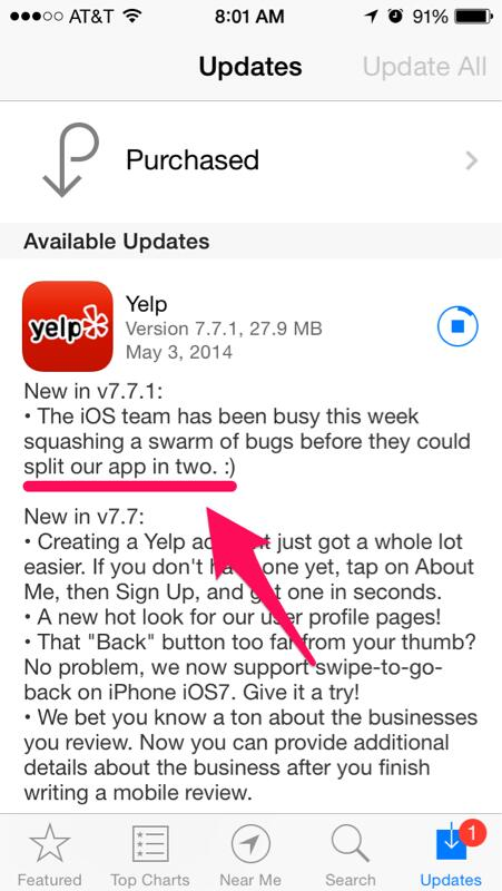 Did Yelp's iOS update just make fun of  Foursquare's latest move? http://t.co/3JGNg1vaZ6