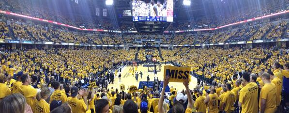 This is what winning Game 7 looks like in a sea of gold. NOTlanta. Not now. Not ever. #OurHouse #pacers http://t.co/ehbCIWls4U