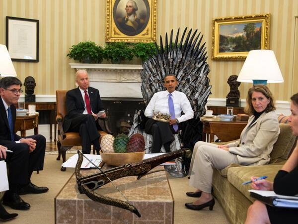 Oh. My. God. RT @whitehouse: The Westeros Wing. #WHCD http://t.co/f8n7vM8APD #GameOfThrones #IronThrone