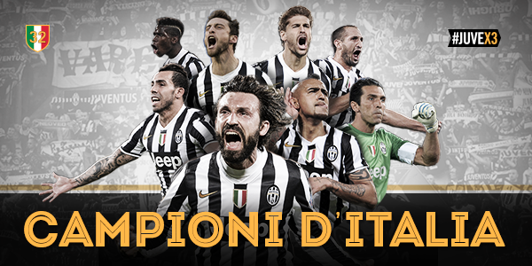 """@juventusfcen: CHAMPIONS OF ITALY FOR THE THIRD TIME IN A ROW!!! #JuveX3 http://t.co/pchFN8qaVD"" SIAMO NOOOOOOI SIAMO NOOOOOOI"