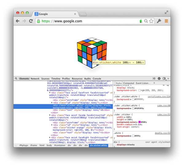 Today's Google doodle is a great demonstration of what's possible with CSS 3D transforms and creativity #rubik http://t.co/7LTClNdgzb