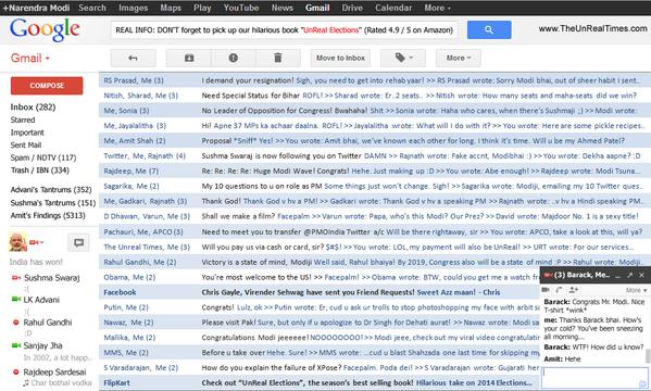 LEAKED: Gmail Inbox of Narendra Modi (via @vbadal @TheUnRealTimes @ashwinskumar) http://t.co/qIXMNtOG4i || This is fun!