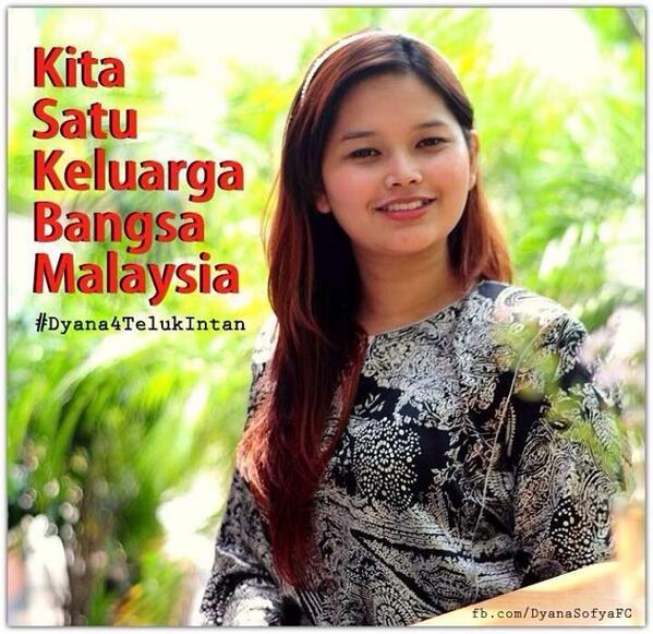 Malaysia baru, sejarah baru! DAP hari ini letak calon wanita Melayu Dyana Sofia sebagai calon PRK Teluk Intan. http://t.co/cLtTrFeL1V