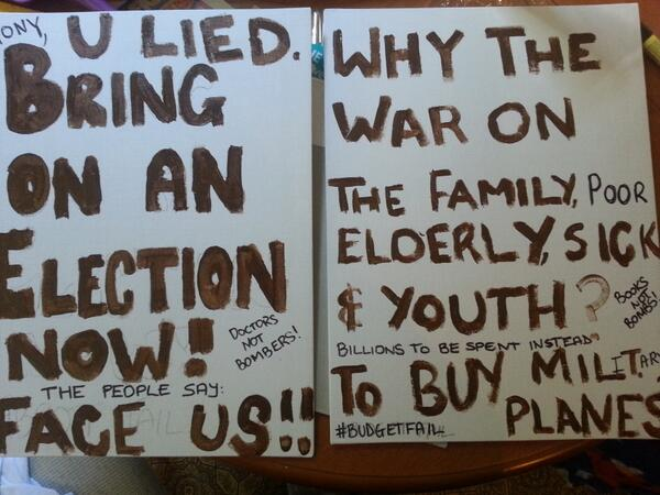 #BustTheBudget My Signs for tomorrow, painted in the colour of shit. #BudgetFail #MarchInMay #MarchSydney http://t.co/wqd0vbCMwZ