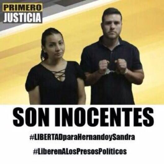 Ya son 53 días que llevan presos nuestros compañeros Hernando y Sandra #LiberenATodosLosPresosPoliticos http://t.co/0FiWJpsOO5