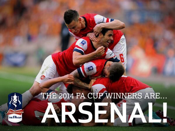 Congratulations @Arsenal! 2014 #FACup winners http://t.co/MWSN0qQ7Q2