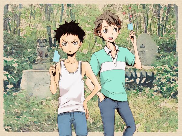 ついでにちょい前に描いた絵。及川さんと岩ちゃんは小さい頃からの仲なので小学校の時辺りこんなんだったかなー、と。 >ハイキュー!! http://t.co/7gjJmRVneS