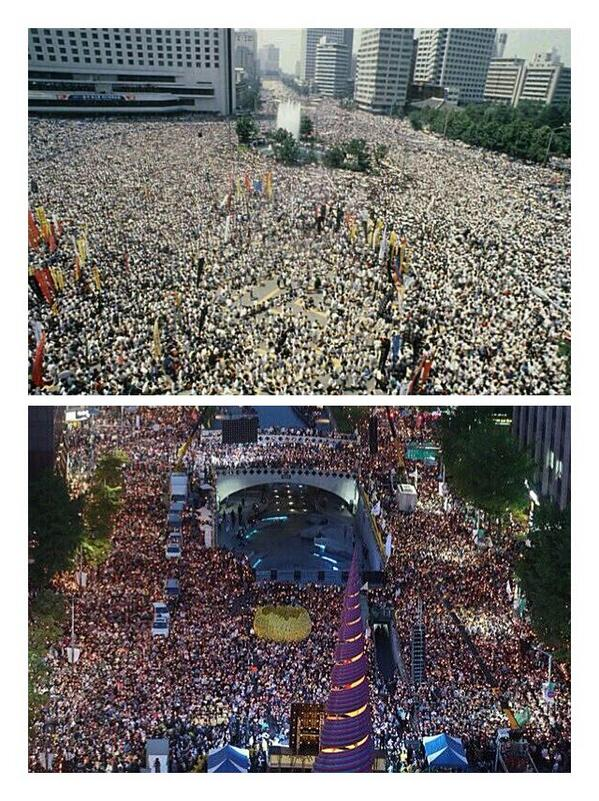 이 두 사진은 같은 시절의 모습이 아닙니다. 하나는 어제의 모습이고 다른 하나는 27년 전의 모습입니다. 그러나 우리는 비슷한 정권을 겪고 있습니다. http://t.co/aRXLiJ9JT4