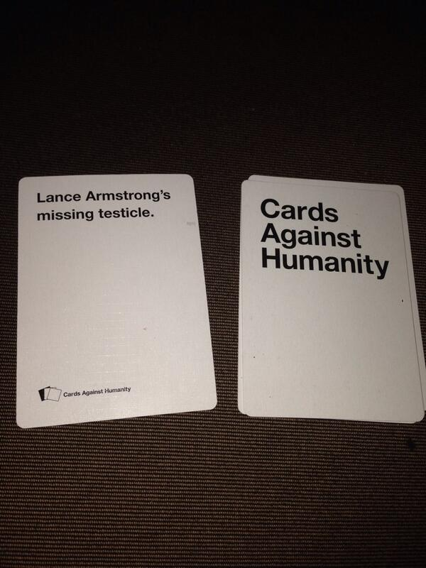 Lance Armstrong (@lancearmstrong): Just another night of playing Cards Against Humanity... http://t.co/lfu3YtdHRC