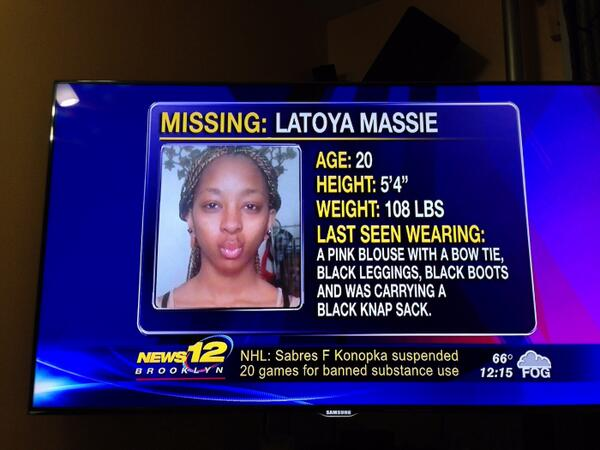 "@DrStevePerry LaToya Massie from ""Black in America 2"" missing since 5/12 after job interview. #WhereisLaToyaMassie? http://t.co/LqDKSHov66"