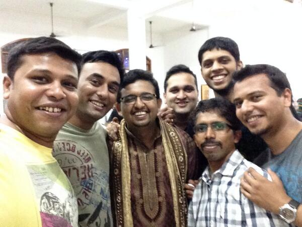 With the groom @prashanth and @SathyaBhat @9_6 @the100rabh @tsuvik @pqrshanth http://t.co/ygRsWyE9b0
