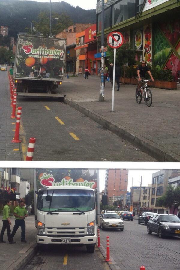 Pillamos un camión de @Surtifruver parqueado en pleno BiciCarril de la calle 85. @SectorMovilidad @TransitoPolicia http://t.co/Y6bT7tw2N6