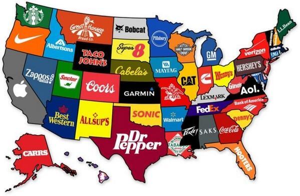 El mapa de Estados Unidos según sus principales marcas http://t.co/KUfQjWUln5 http://t.co/CttbDdGajM