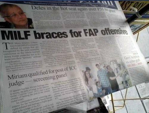 "Headline of the year, ""MILF braces for FAP offensive"" via FHM Malaysia. http://t.co/CdtQDC2GTG"