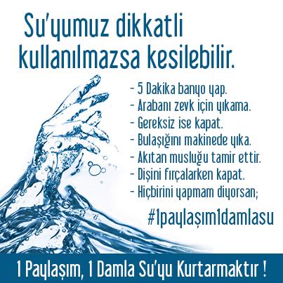 """Su için dikkat! #1paylaşım1damlasu Hadis'i Şeriftr, """"akar su kenarında da abdest alacak olsan suyu israf etme"""" http://t.co/dyLyAUz8hY"""