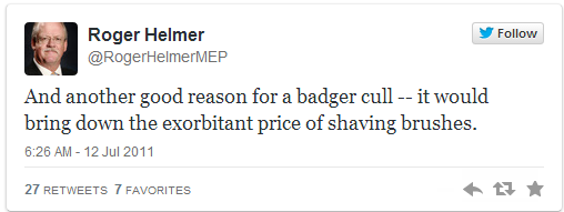 Here's UKIP candidate Roger Helmer on the badger cull. You can't make shit like this up, even if you try hard. http://t.co/21RIQEJYrs