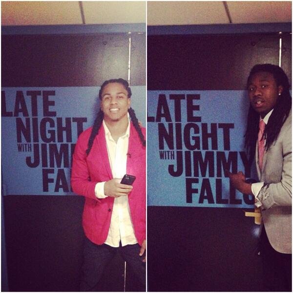 Tune in to Late Night w/ @jimmyfallon at 11:30 pm est 2 catch #Clemson @sammywatkins & #TCU @Jfeeva_2 #NFLDraft2014 http://t.co/WsNYE52Aqk