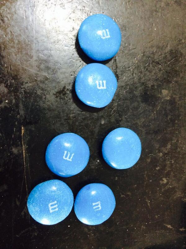 #dsma #BlueFridays #diabetes  M&M's in blue. I've an #InsulinPump & not afraid to use it.