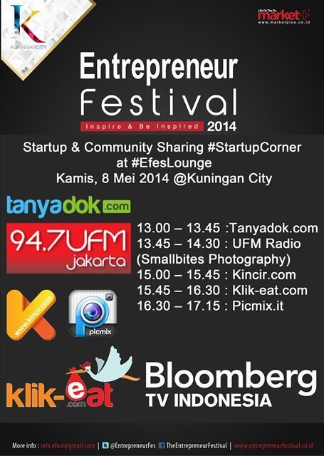 Jadwal #Startupcorner @EntrepreneurFes hari ini! @tanyadok @UFM947 @kincirdotcom @klikeat @MyPicMix #EFes2014 http://t.co/k36Ql25zys