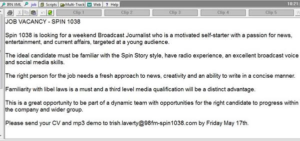 Who wants to come work with us in the @98FM / @spin1038 newsroom? #JobFairy http://t.co/OxeFML4HZC