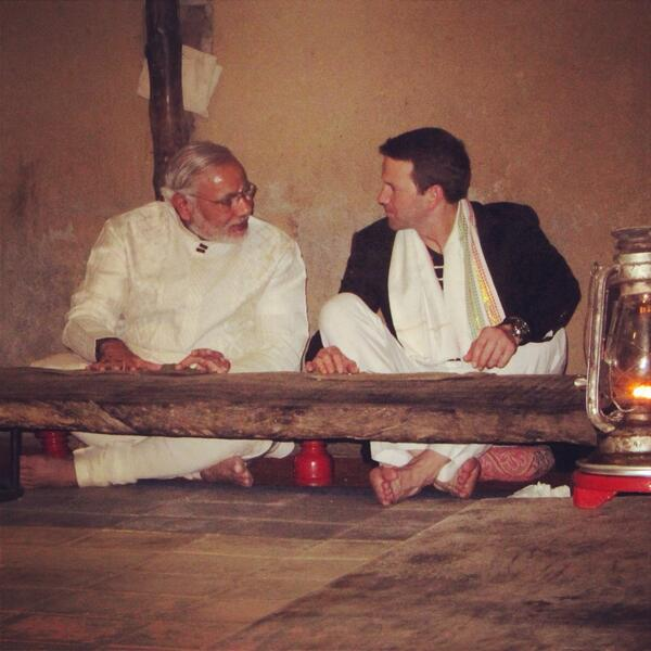 #tbt sharing a meal w/my friend @narendramodi  Wishing him luck as he enters the final week of race for India PM #bjp http://t.co/5Z5kPc1oKf