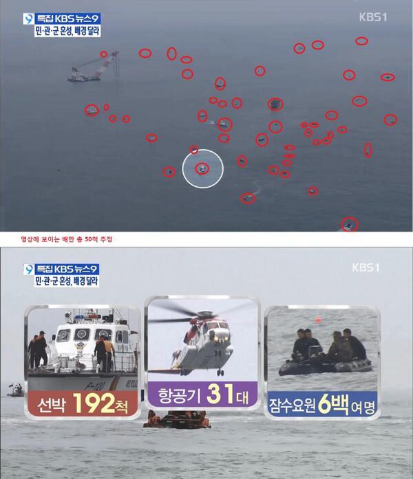 kbs 9시 뉴스가 얼마나 악날한 보도를 했는지 보여주는 영상캡처,저런식으로 국민과 유가족을 우롱 했습니다 널리 알려주세요 (사진:kbs 항공촬영하면서 보도했던내용) http://t.co/ODPt0BgNxK