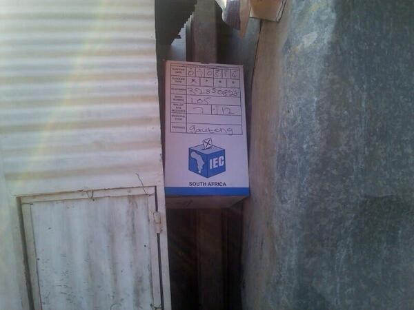 :/ RT @News24 Just in: A ballot box has been found hidden between rocks in Alexandra. #Elections2014 TYN http://t.co/5XCEpEmhAM