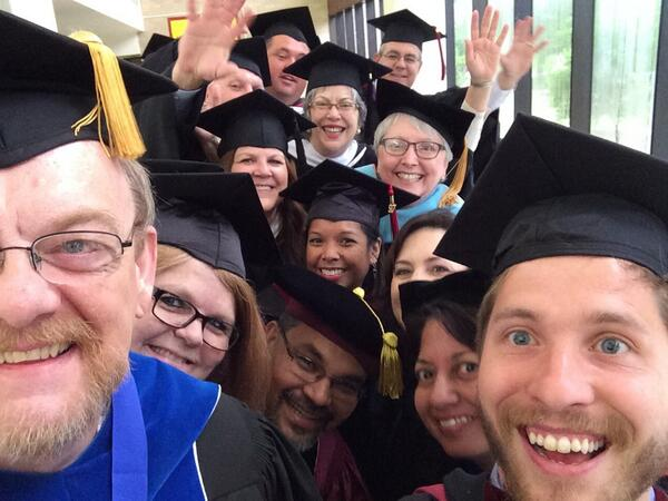 Very honored to be a member of this awesome faculty! Greatest #txst selfie ever! #txstgraduation @txst #eatemup http://t.co/68hHpFeAkU