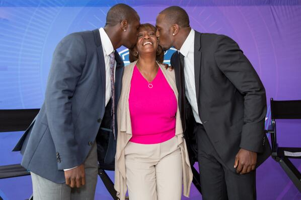 Great shot from #NFLDraft lunch @McCourtyTwins & their mom Phyllis. this is big night for players & moms #NFLmoms http://t.co/dgEL2z0GTG