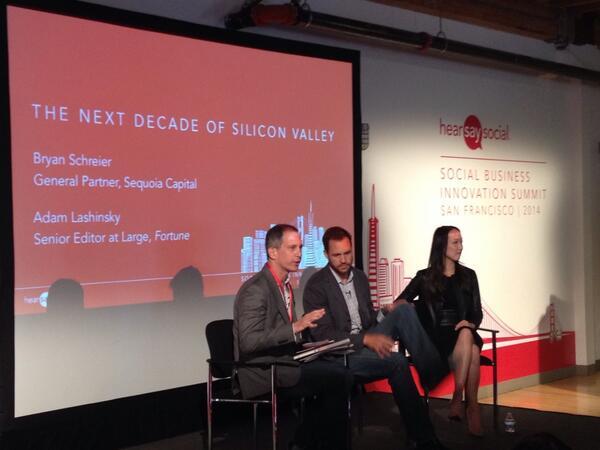 The next decade of Silicon Valley with @schreier @Sequoia_Capital @adamlashinsky @FortuneMagazine @clarashih #SBIS14 http://t.co/jcvT9z7c8q