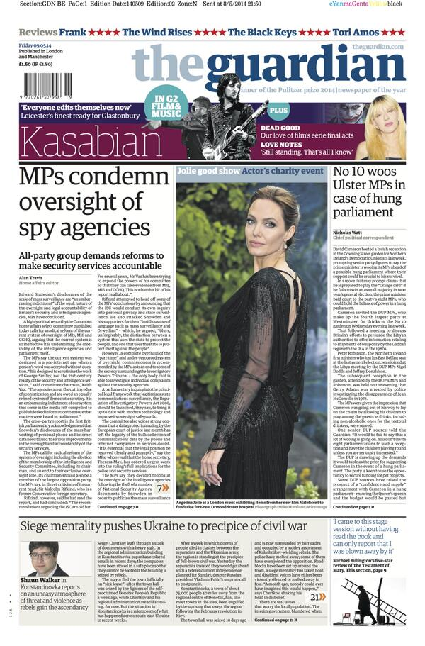 Guardian front page, Friday 9 May 2014: MPs condemn oversight of spy agencies