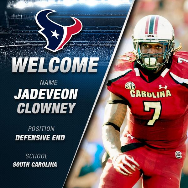 With the No.1 pick in the 2014 #NFLDraft the #Texans select... JADEVEON CLOWNEY. http://t.co/zBEh4vF5x7