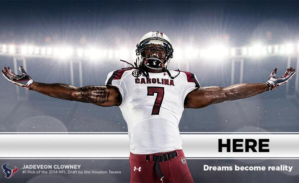 With the No. 1 pick in the 2014 #NFLDraft, the @HoustonTexans select JADEVEON CLOWNEY! #Gamecocks #HereSC @clownejd http://t.co/9BfAUqGsPe