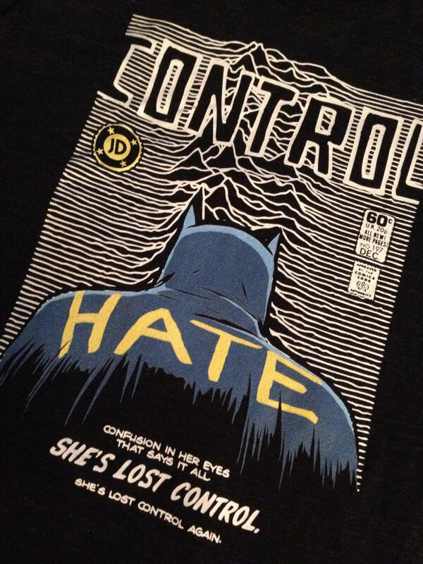 Two of my fave pop culture things on one t-shirt. Batman and Joy Division. Design by @billythebutcher. http://t.co/FqFmPTVnyQ